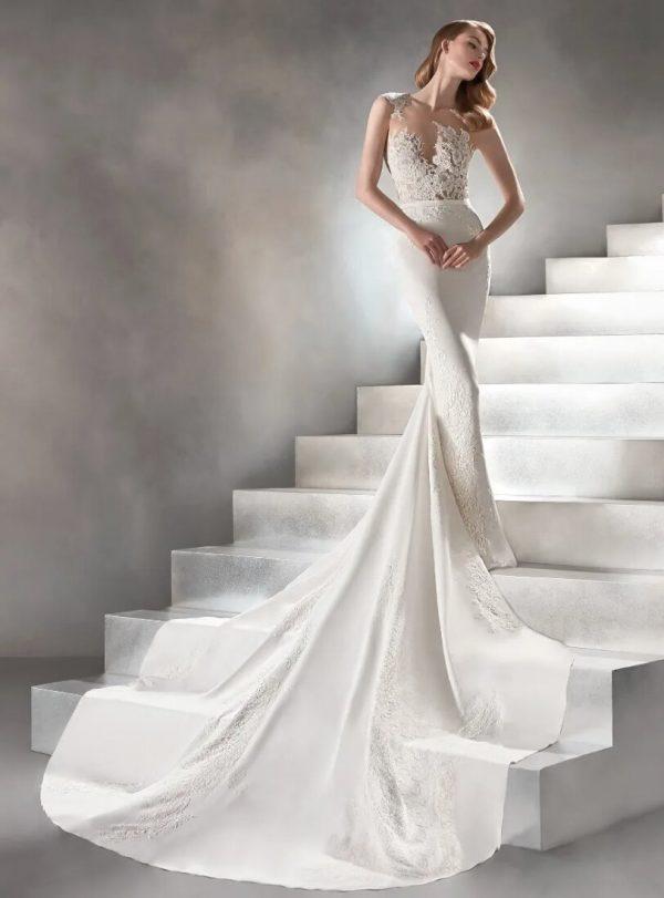 Sleeveless Mermaid Crepe Wedding Dress by Pronovias - Image 1