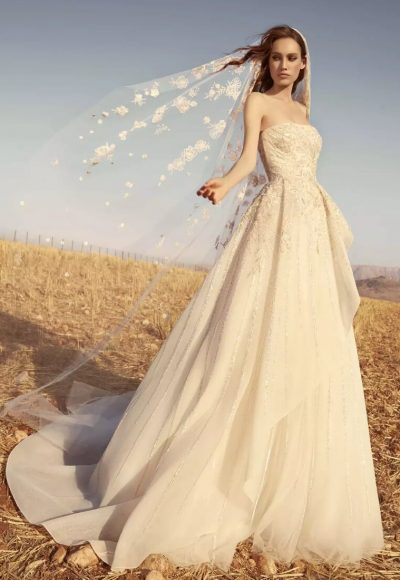 Strapless Embroidered Tulle Wedding Dress by Zuhair Murad