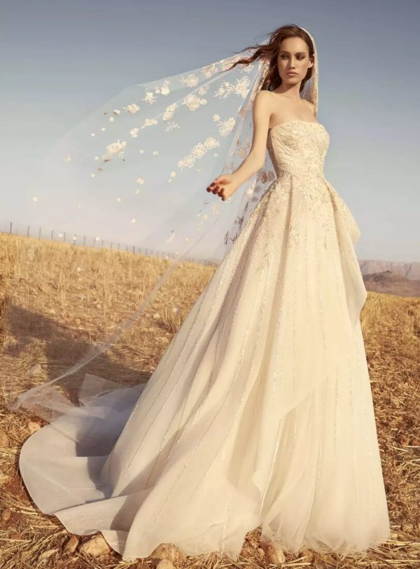 Strapless Embroidered Tulle Wedding Dress by Zuhair Murad - Image 1