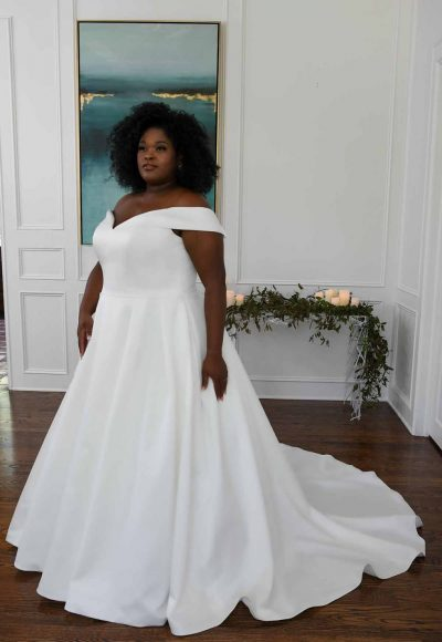 Classic And Modern Off The Shoulder Ball Gown by Essense of Australia