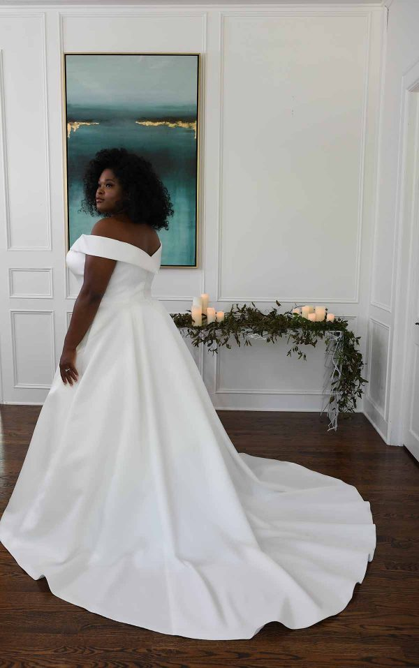 Classic And Modern Off The Shoulder Ball Gown by Essense of Australia - Image 2