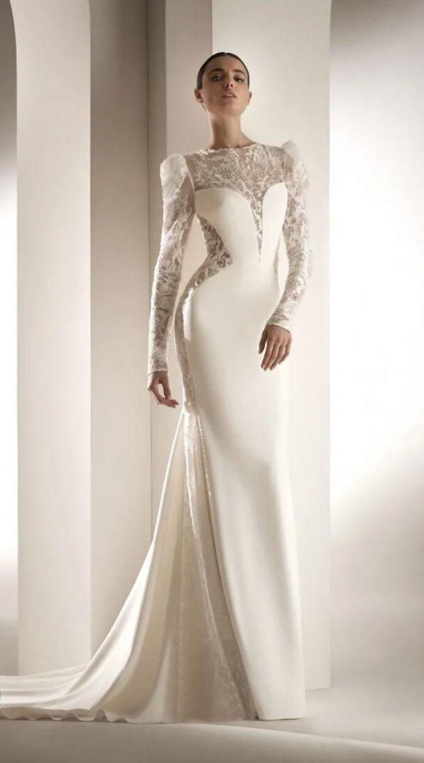 Crepe Mermaid Wedding Dress With Puff Sleeves by Pronovias - Image 1