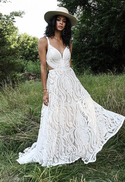 Sleeveless V-neck A-line Lace Wedding Dress by All Who Wander