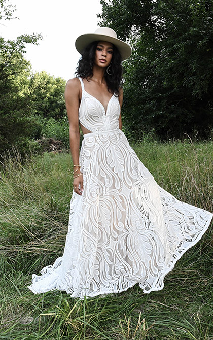 Sleeveless V-neck A-line Lace Wedding Dress by All Who Wander - Image 1