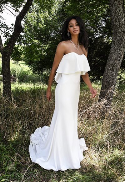 Strapless Simple Sheath Wedding Dress by All Who Wander
