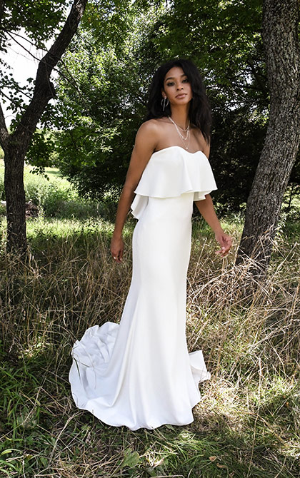 Strapless Simple Sheath Wedding Dress by All Who Wander - Image 1