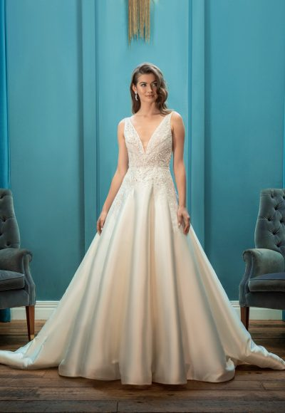 V-neck Sleeveless Ball Gown Wedding Dress by Enaura Bridal