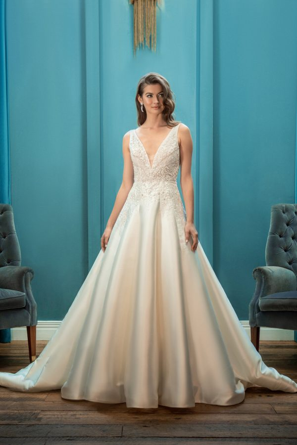 V-neck Sleeveless Ball Gown Wedding Dress by Enaura Bridal - Image 1