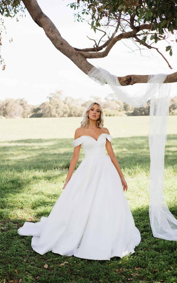 Classic And Modern Off The Shoulder Ball Gown by Essense of Australia - Image 1