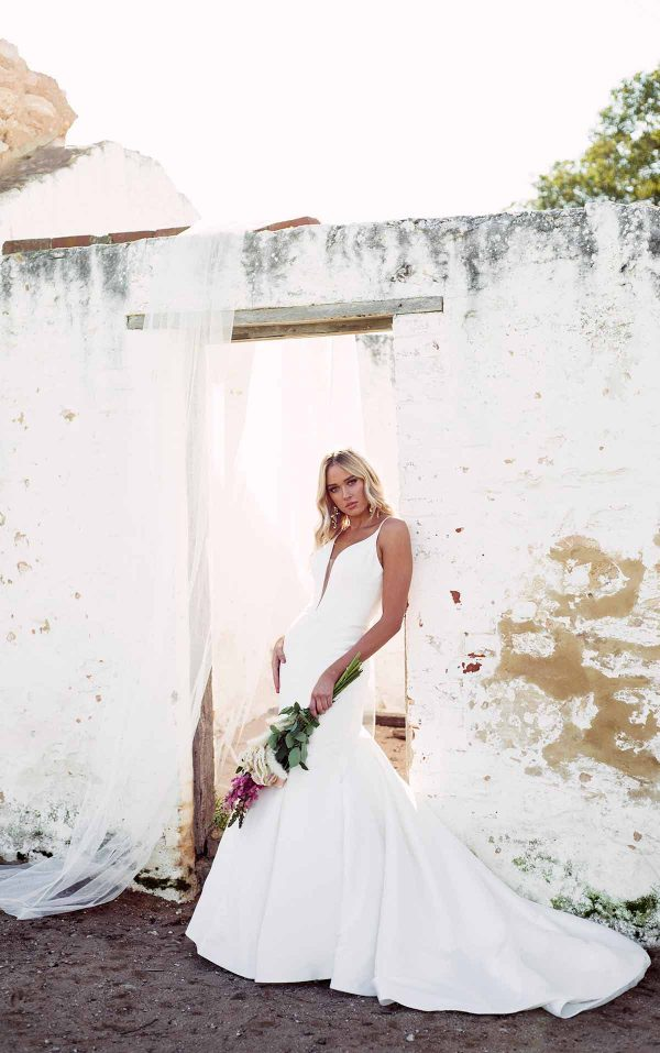 Fit And Flare Wedding Dress In Mikado by Essense of Australia - Image 1