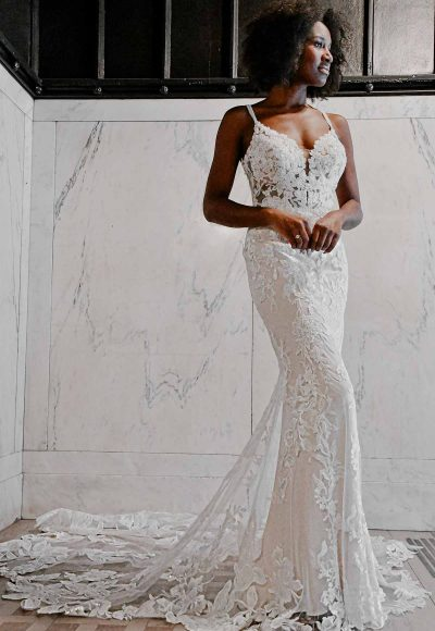 Sexy Floral Wedding Dress With Sheer Detail by Essense of Australia