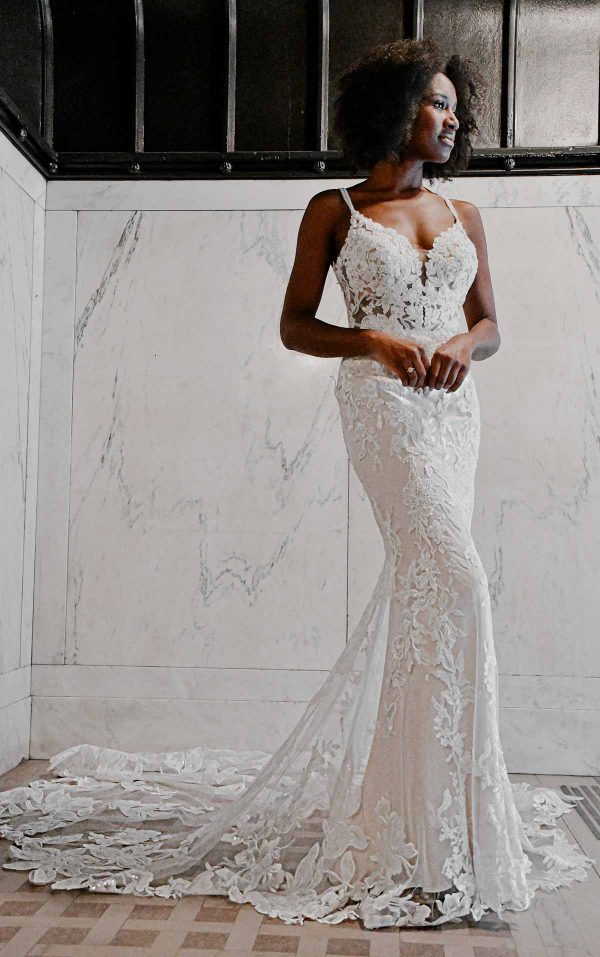Sexy Floral Wedding Dress With Sheer Detail by Essense of Australia - Image 1