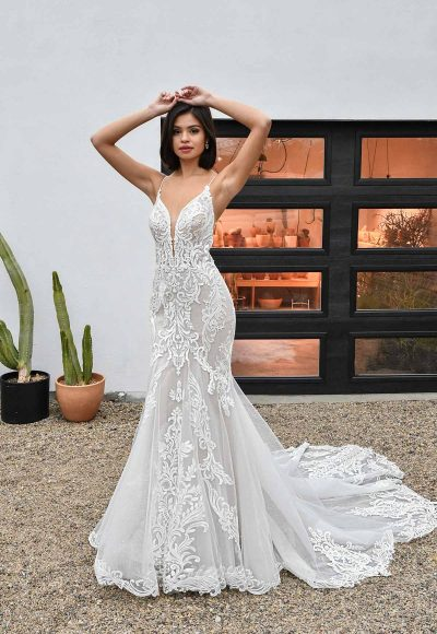 Spaghetti Strap V-neckline Lace And Tulle Fit And Flare Wedding Dress by Essense of Australia