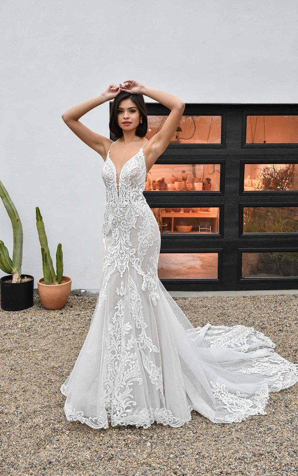 Spaghetti Strap V-neckline Lace And Tulle Fit And Flare Wedding Dress by Essense of Australia - Image 1