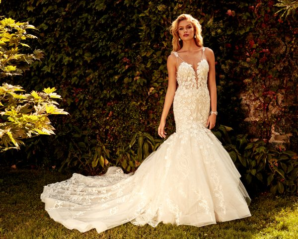 SLEEVELESS V-NECK FIT AND FLARE WEDDING DRESS by Eve of Milady - Image 1