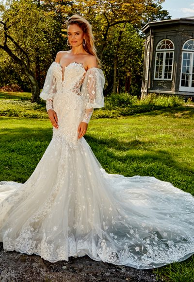 Strapless Beaded And Embroidered Fit And Flare Wedding Dress by Eve of Milady