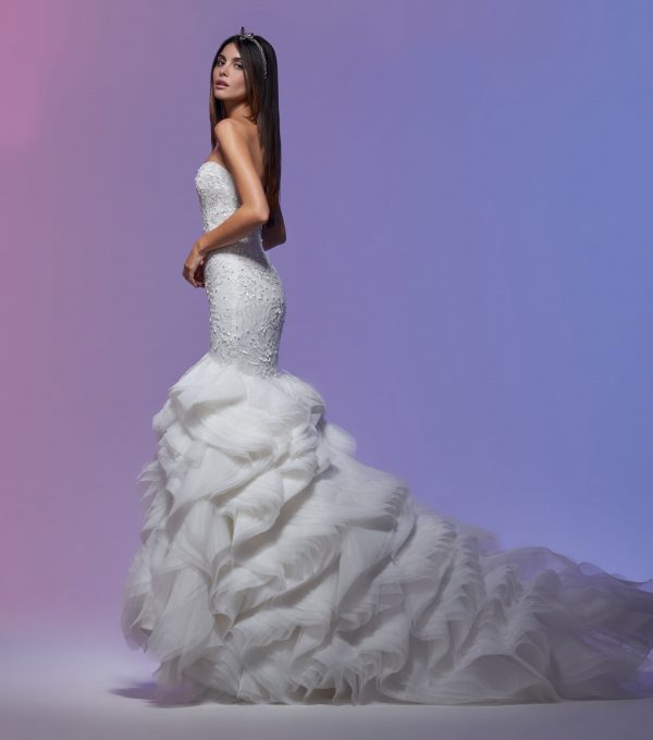 Sweetheart Neckline Embroidered Lace Mermaid Wedding Dress by Lazaro - Image 2