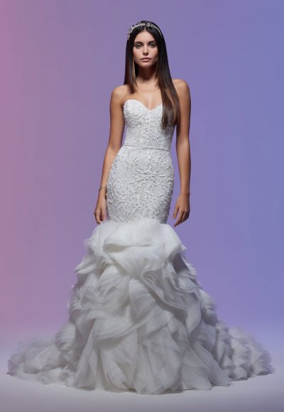 Sweetheart Neckline Embroidered Lace Mermaid Wedding Dress by Lazaro