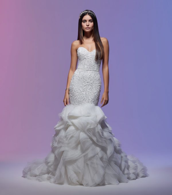 Sweetheart Neckline Embroidered Lace Mermaid Wedding Dress by Lazaro - Image 1