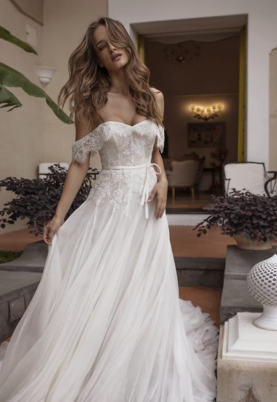 A-line Lace Off The Shoulder Wedding Dress by Maison Signore