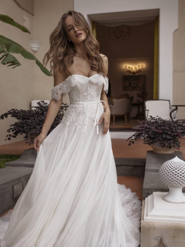 A-line Lace Off The Shoulder Wedding Dress by Maison Signore - Image 1