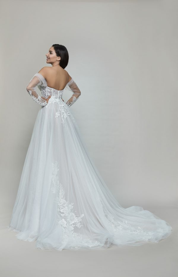 Long Sleeve Off The Shoulder Tulle A-line Wedding Dress by Maison Signore - Image 2
