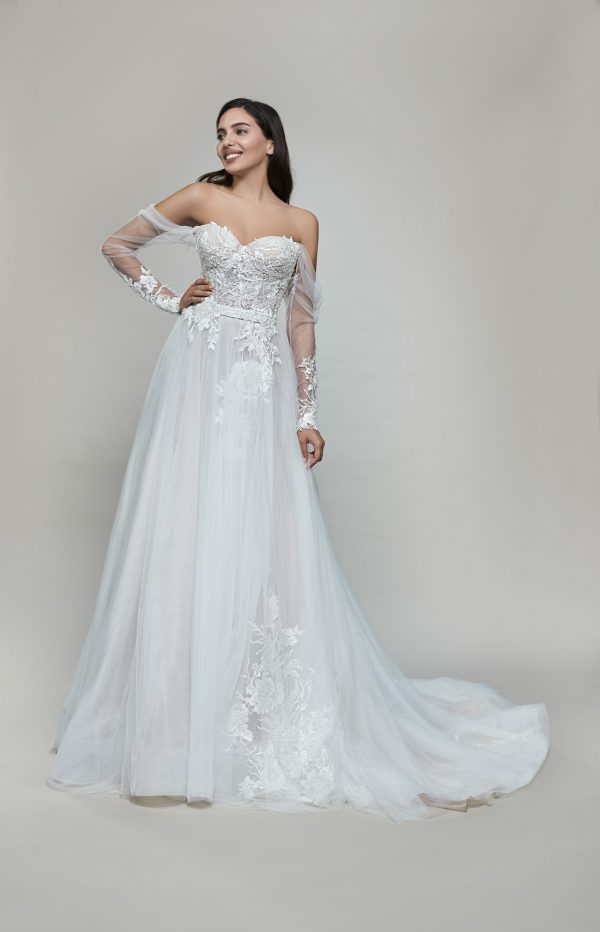 Long Sleeve Off The Shoulder Tulle A-line Wedding Dress by Maison Signore - Image 1