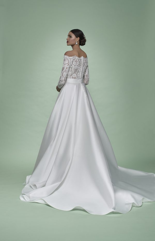 Strapless 3/4 Sleeve Ball Gown Wedding Dress With Lace Bodice And Mikado Skirt by Maison Signore - Image 2