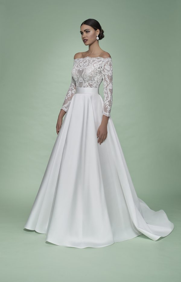Strapless 3/4 Sleeve Ball Gown Wedding Dress With Lace Bodice And Mikado Skirt by Maison Signore - Image 1