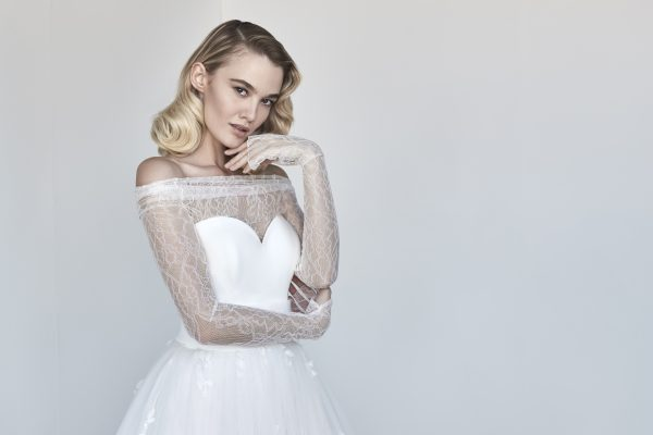 Sweetheart A-line Wedding Dress With Removable Lace Shrug by Maison Signore - Image 1