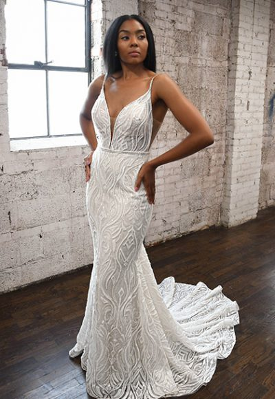 Spaghetti Strap V-neckline Fit And Flare Wedding Dress by Martina Liana