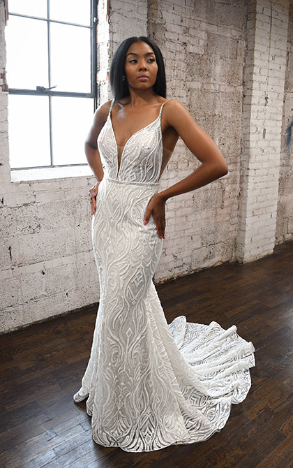 Spaghetti Strap V-neckline Fit And Flare Wedding Dress by Martina Liana - Image 1