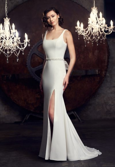 Sleeveless Scoop Neckline Fit And Flare Wedding Dress by Mikaella
