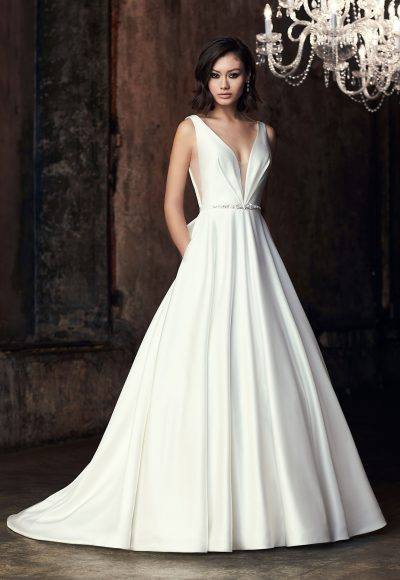 Sleeveless V-neck Ball Gown Wedding Dress by Mikaella