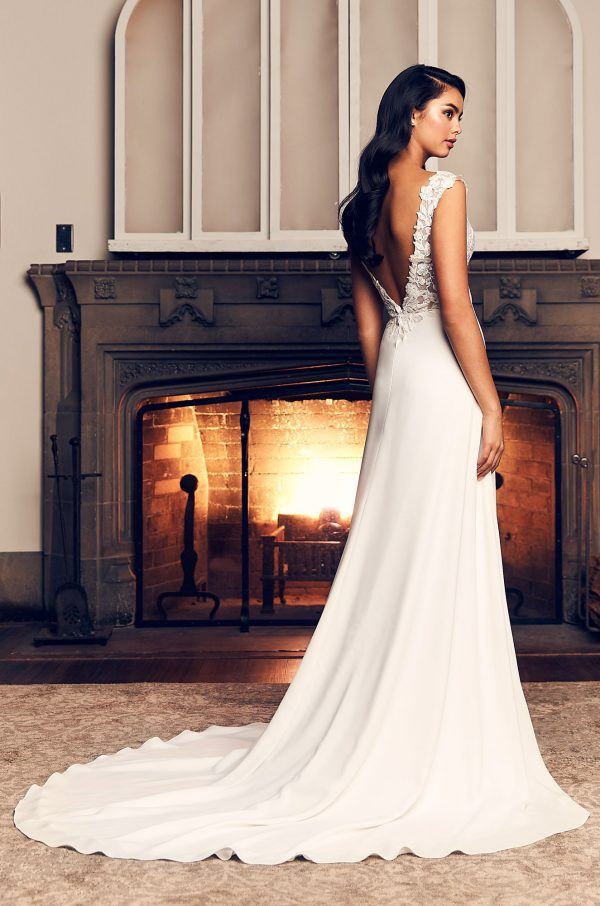 Cap Sleeve A-line Crepe Wedding Dress With Slit by Paloma Blanca - Image 2