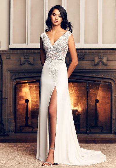 Cap Sleeve A-line Crepe Wedding Dress With Slit by Paloma Blanca