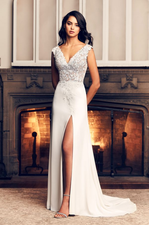 Cap Sleeve A-line Crepe Wedding Dress With Slit by Paloma Blanca - Image 1