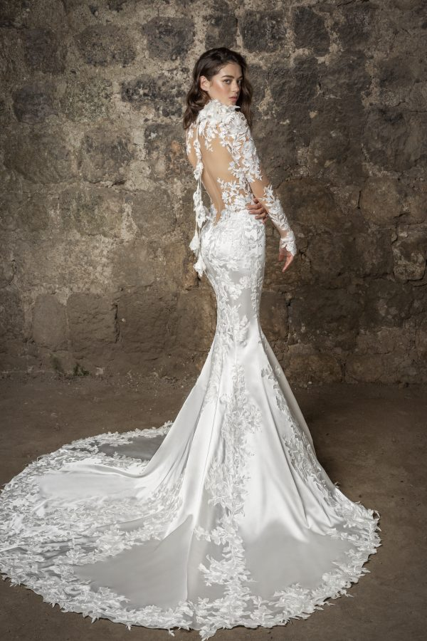 Long Sleeved High Neckline Lace And Satin Mermaid Wedding Dress With Flowers by Pnina Tornai - Image 2