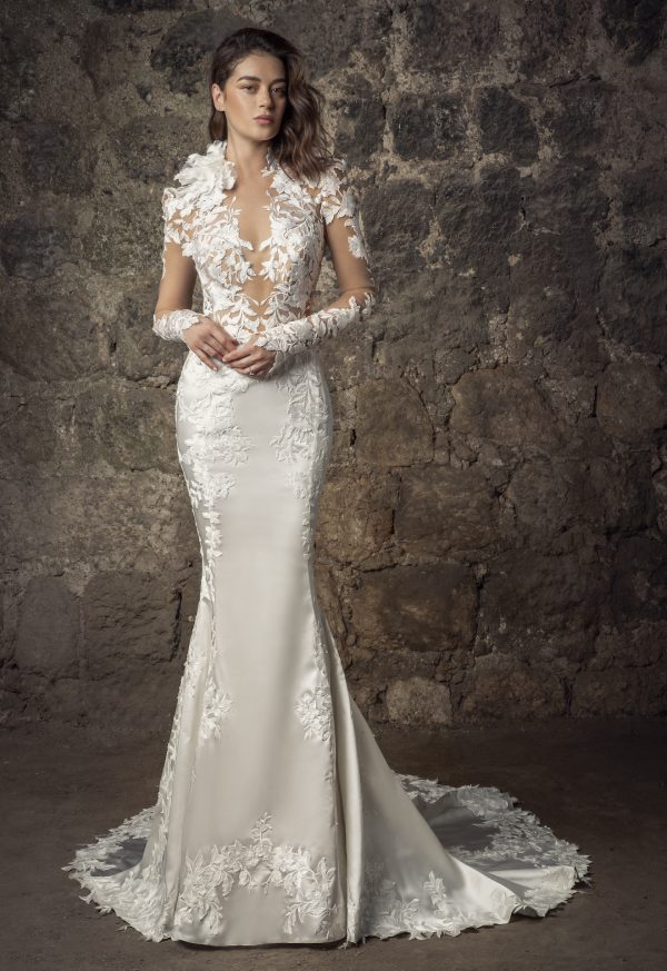 Long Sleeved High Neckline Lace And Satin Mermaid Wedding Dress With Flowers by Pnina Tornai - Image 1