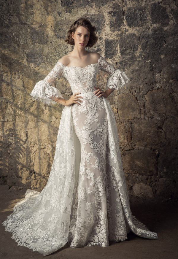 Off The Shoulder Lace Victorian Ruffle Long Sleeve Sheath Wedding Dress With Overskirt by Pnina Tornai - Image 2