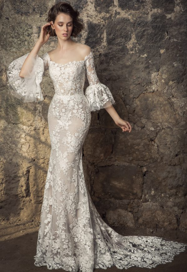 Off The Shoulder Lace Victorian Ruffle Long Sleeve Sheath Wedding Dress With Overskirt by Pnina Tornai - Image 1