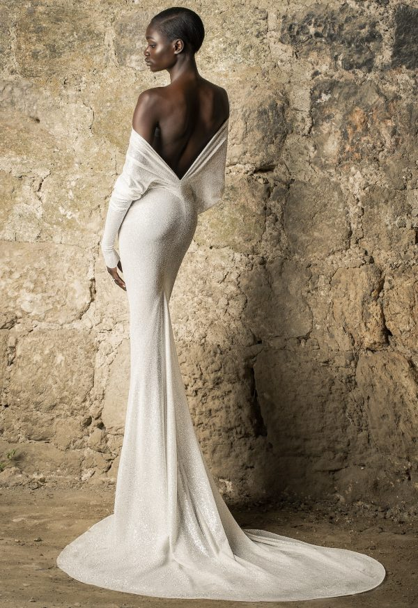 Off The Shoulder Long Sleeve Draped Glitter Sheath Wedding Dress With Low Back by Pnina Tornai - Image 2