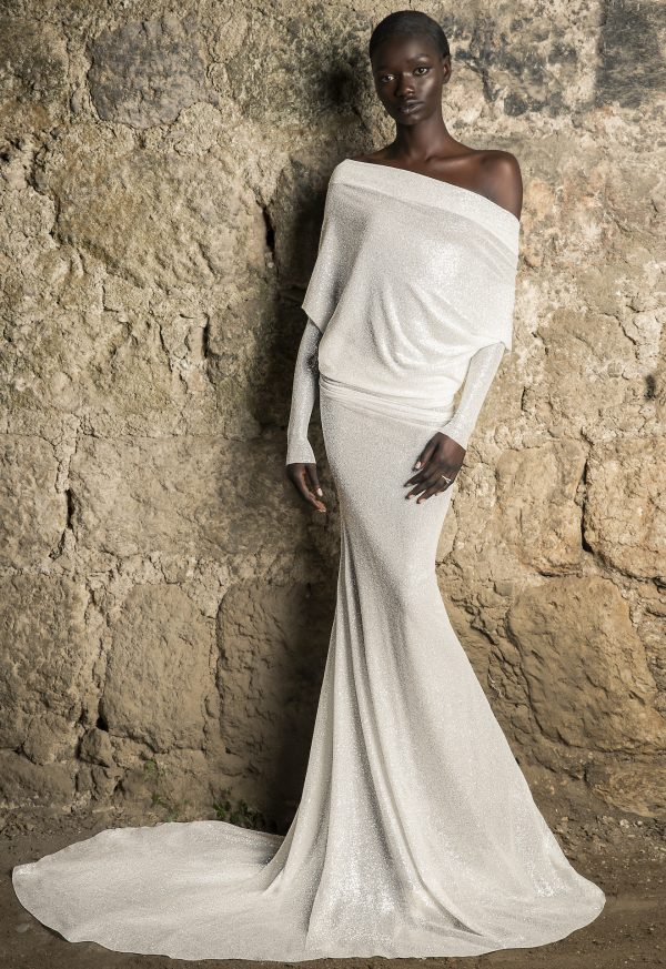 Off The Shoulder Long Sleeve Draped Glitter Sheath Wedding Dress With Low Back by Pnina Tornai - Image 1