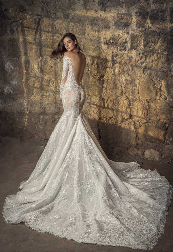 Off The Shoulder Long Sleeve Lace Mermaid Wedding Dress With Sequin Floral Appliqués by Pnina Tornai - Image 2