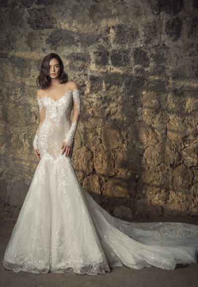 Off The Shoulder Long Sleeve Lace Mermaid Wedding Dress With Sequin Floral Appliqués by Pnina Tornai