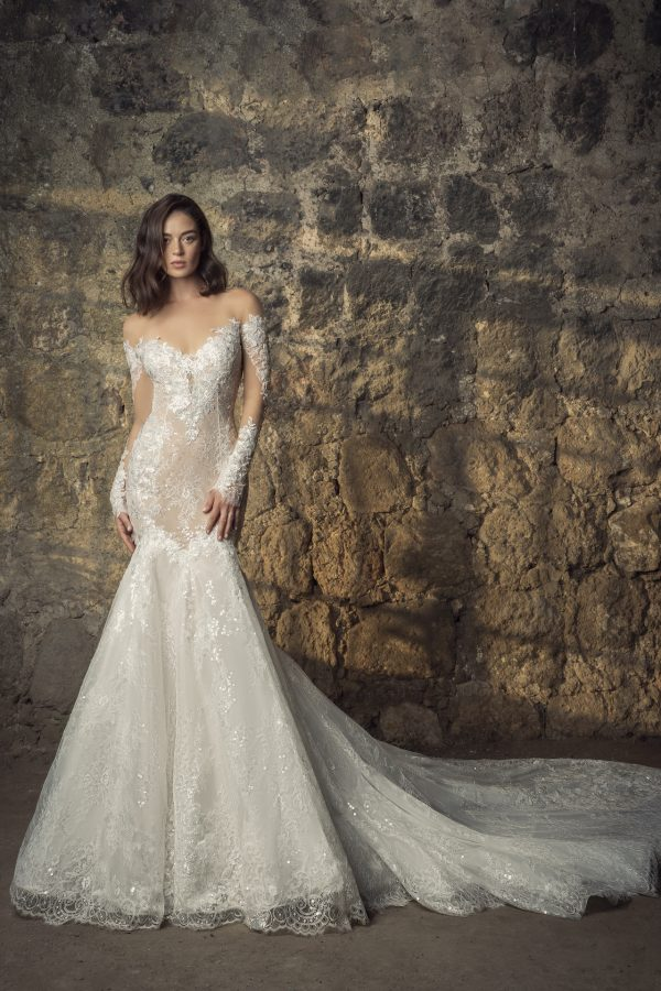 Off The Shoulder Long Sleeve Lace Mermaid Wedding Dress With Sequin Floral Appliqués by Pnina Tornai - Image 1