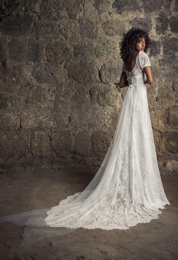 Puff Sleeve V-neckline Empire Waist Chantilly Lace Sheath Wedding Dress by Pnina Tornai - Image 2