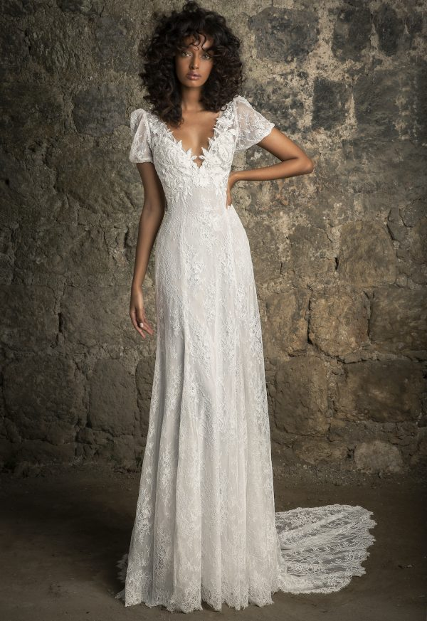 Puff Sleeve V-neckline Empire Waist Chantilly Lace Sheath Wedding Dress by Pnina Tornai - Image 1