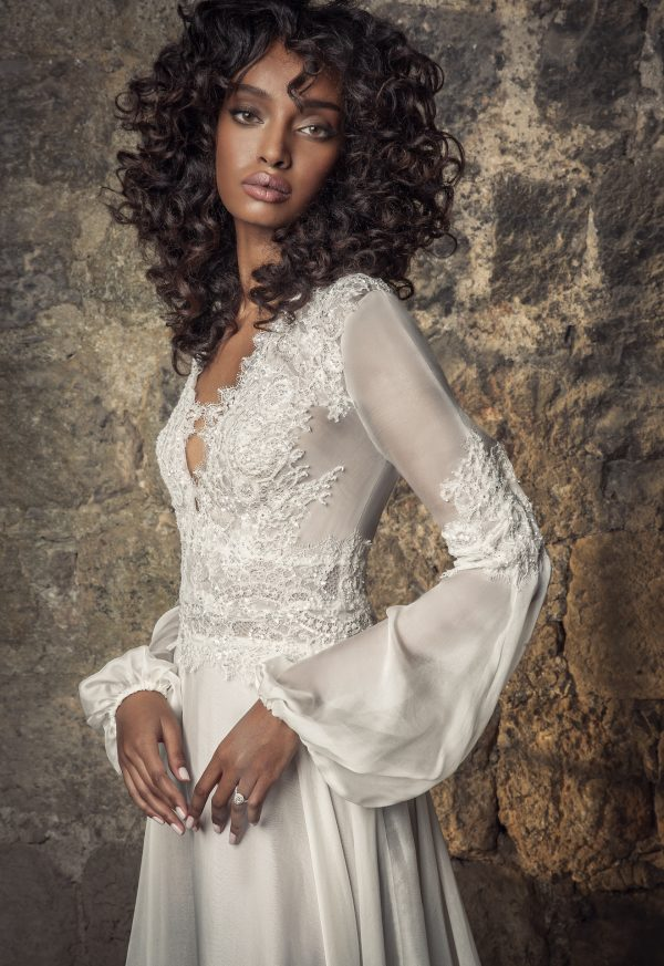Silk Chiffon A-line Wedding Dress With Longblouson Sleeves by Pnina Tornai - Image 2
