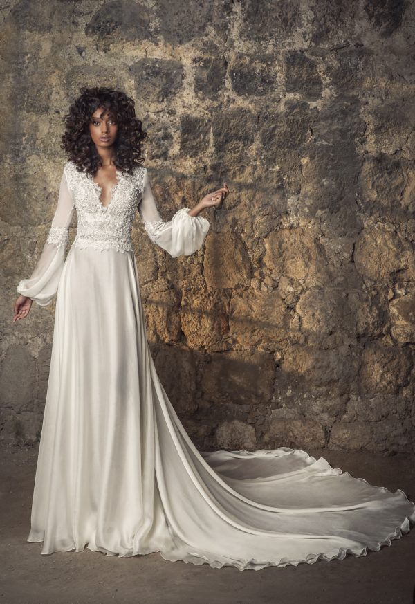 Silk Chiffon A-line Wedding Dress With Longblouson Sleeves by Pnina Tornai - Image 1